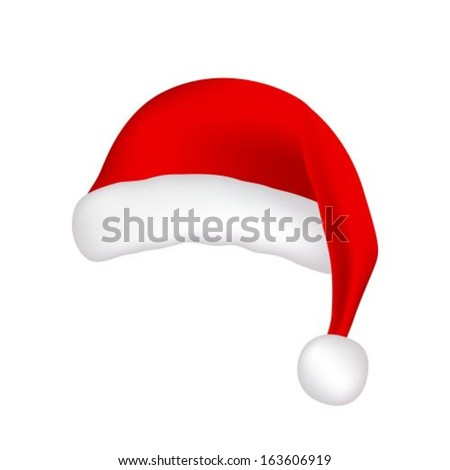 red Santa Claus hat on white background - stock vector