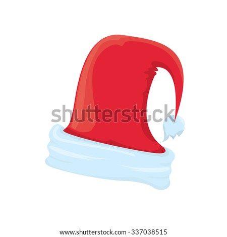 red Santa hat icon isolated on white. santa hat . vector illustration - stock vector