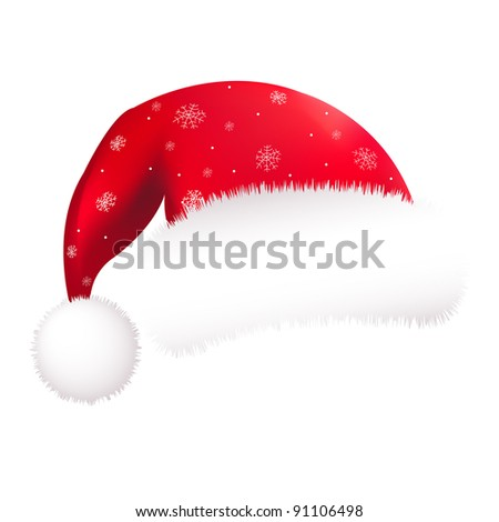 Red Santa Hat, Isolated On White Background, Vector Illustration