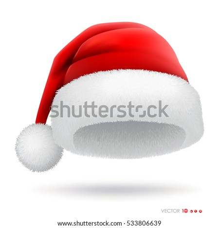 Red santa hat. Vector eps 10.