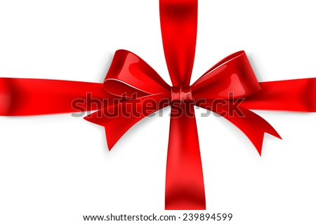 Red satin bow isolated on white background. Vector illustration, only gradient mesh and gradients.