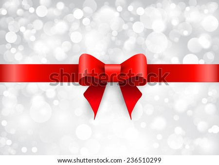 Red satin bow on a brilliant background - stock vector