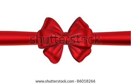 Red satin gift bow. Ribbon. Vector illustration - stock vector
