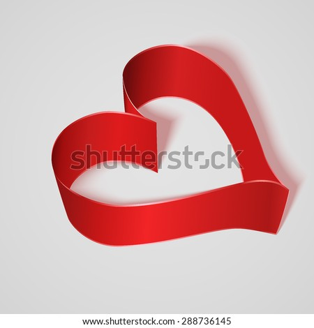 Red satin ribbon heart. Vector illustration