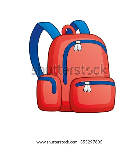 Red school bag.