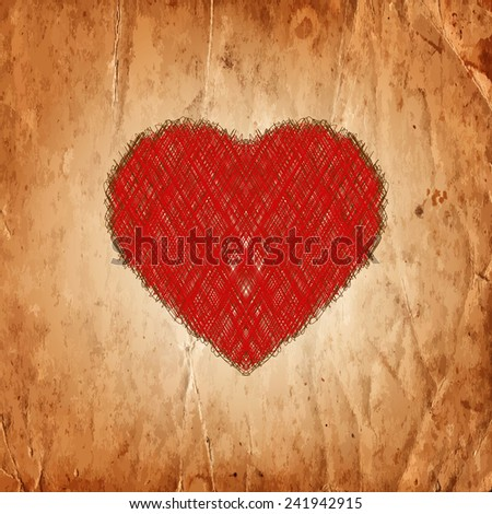 Red scribble heart on the old paper texture. Vector illustration - stock vector