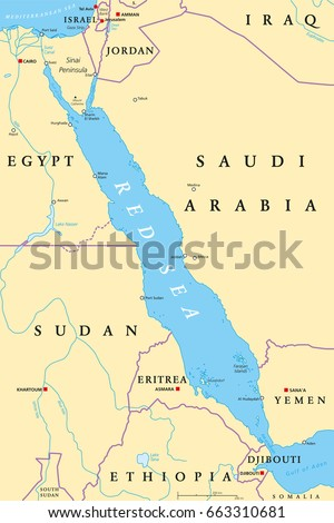 Red Sea Region Political Map Capitals Stock Photo Photo Vector