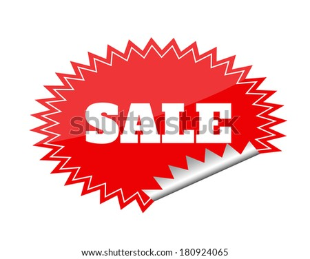 Red seals sticker with sale text - stock vector