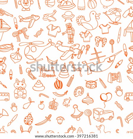Red Seamlesbackground of Funny baby toys set. Vector doodle collection of hand drawn icons for baby shower or scrapbook - stock vector