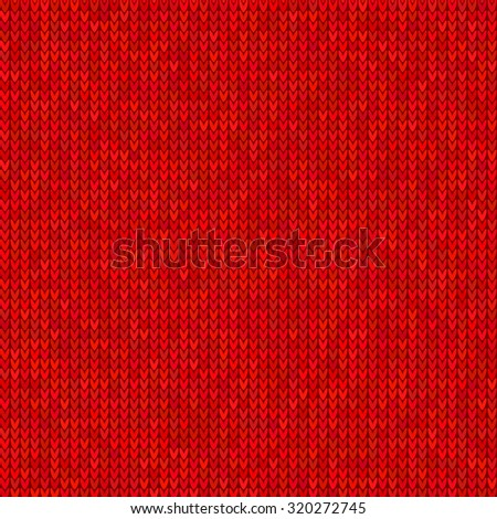 Red seamless knitted sweater pattern. Christmas and New Year holidays abstract background. Vector illustration EPS10 - stock vector