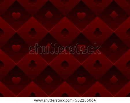 Red Seamless Pattern Fabric Poker Table. Minimalistic Casino Vector 3d  Background With Texture Composed From