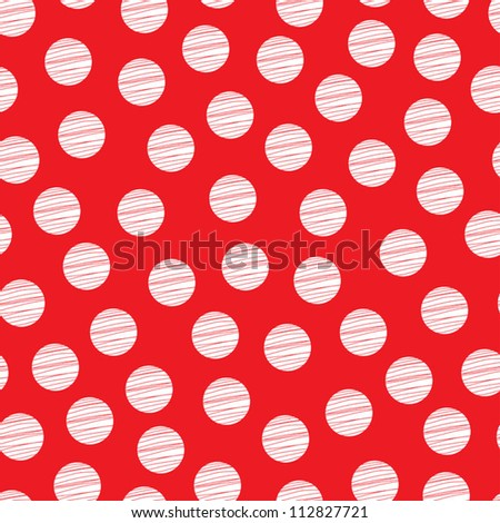 Red seamless pattern, polka dot fabric, wallpaper, vector. Seamless pattern can be used for wallpaper, pattern fills, web page background, surface textures. - stock vector