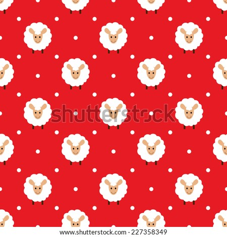 Red seamless pattern with cute sheep - stock vector