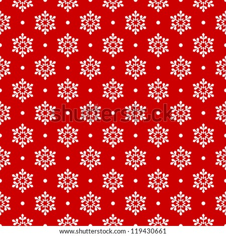 Red seamless snowflake pattern - stock vector