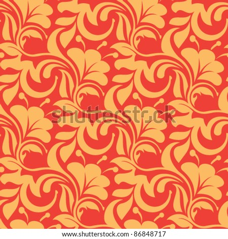 Red seamless wallpaper pattern - stock vector