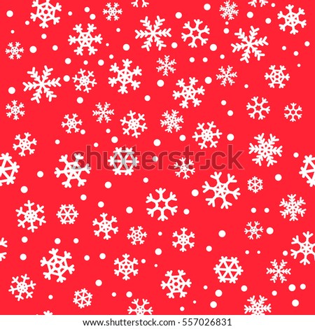 Red seamless winter snowflake pattern. Christmas vector design. Snow background