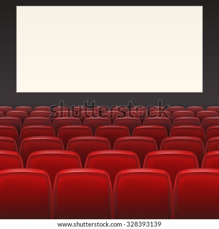 Red seats with white blank screen and space for your text