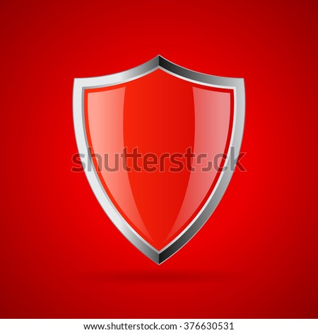 Red secure shield icon, vector illustration isolated on red background - stock vector