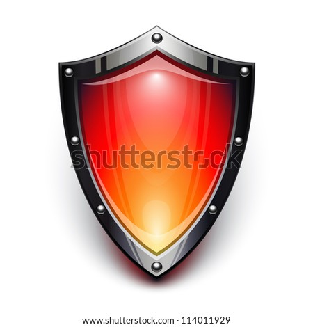 Red security shield - stock vector