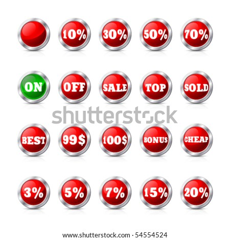 Red set Internet buttons
