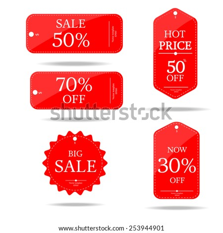 red set price tag-vector
