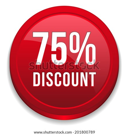 Red seventy-five percent discount button