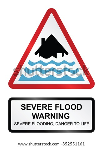 Red severe flood warning sign isolated on white background  - stock vector