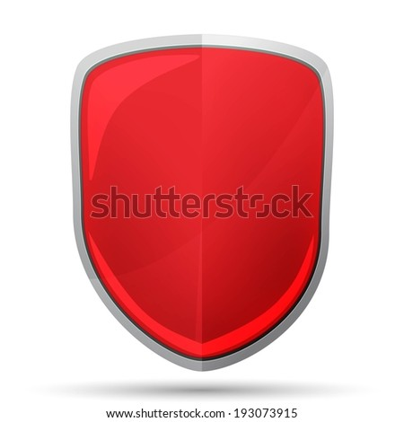 red shield icon - stock vector