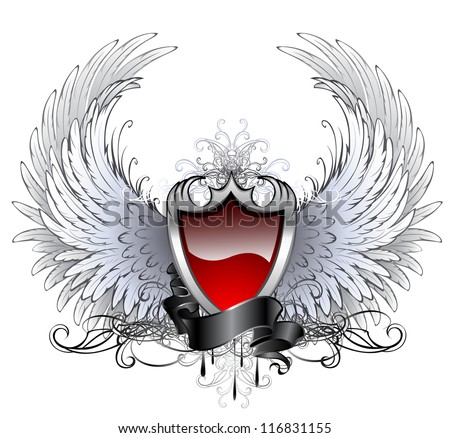 red shield with a silver stylized angel wings and dark ribbon on a white background. - stock vector
