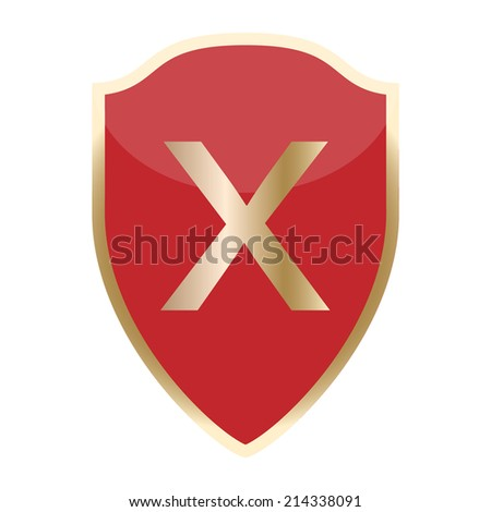 Red shield with cancel icon. Vector - stock vector