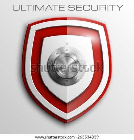 Red shield with Combination Lock isolated on white background. Security vector sign - stock vector