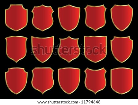 red shield with golden border; design set with various shapes - stock vector