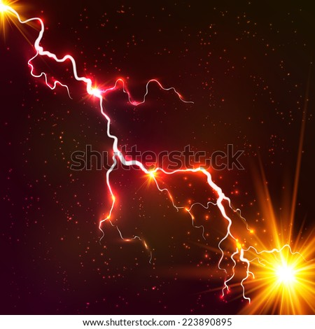 Red shining cosmic plasma vector lightning - stock vector