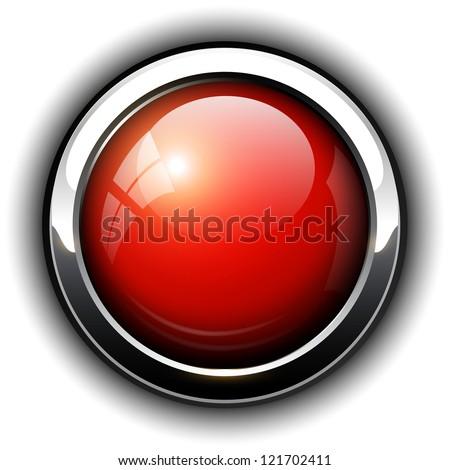 Red shiny button, vector design. - stock vector
