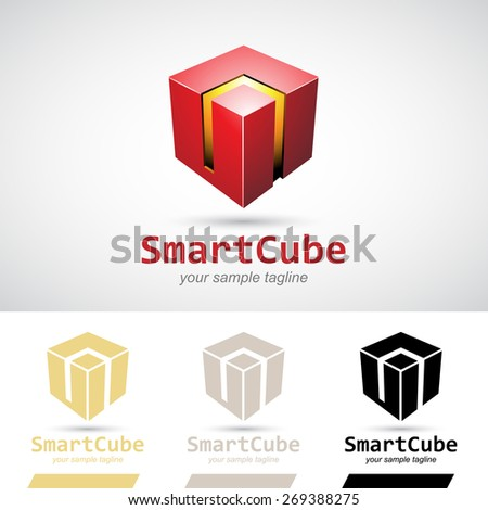 Red Shiny 3d Cube Logo Icon Vector Illustration - stock vector