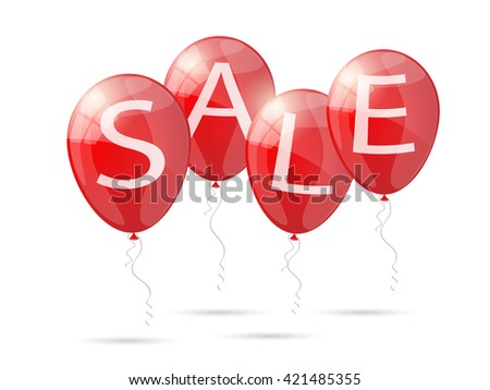 Red shiny glossy balloons discounts. Sale balloons. Vector illustration.