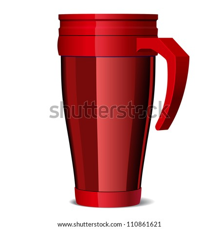 Red Shiny Metal travel thermo-cup vector - stock vector