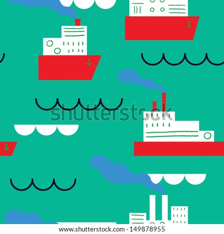 Red ships at the sea. Vector seamless pattern - stock vector