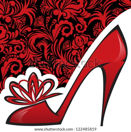 red shoe with a high heel on background with beautiful ornaments - stock vector