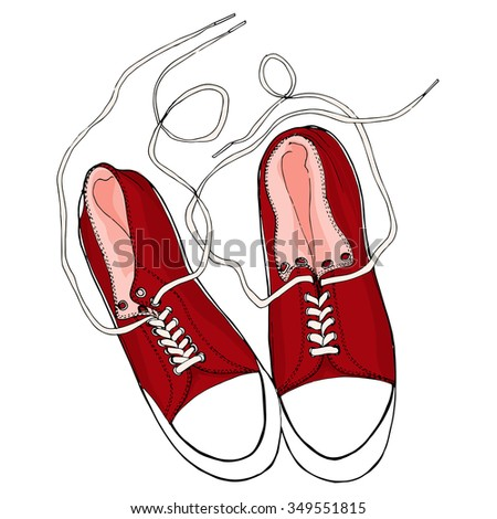 Red shoes.  Pattern for banners, flyers, card,  advertising, invitations, prints. - stock vector