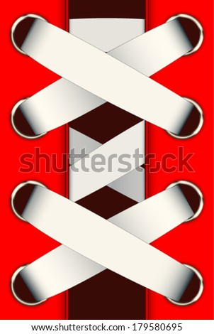red shoes with laces - stock vector
