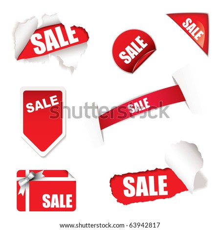 Red shop sale elements on white background design concept - stock vector