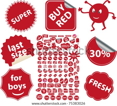 red shop & store labels, stickers, icons, signs, vector illustration