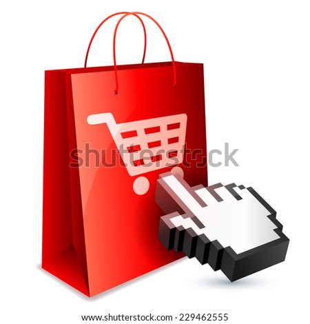 Red shopping bag and computer hand cursor.