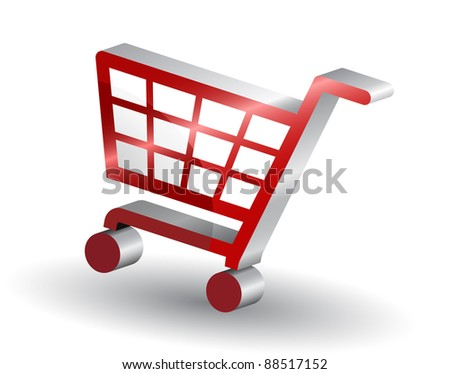 Red shopping basket sign, 3d - stock vector
