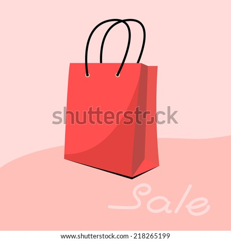 red  shopping paper bag�  - stock vector
