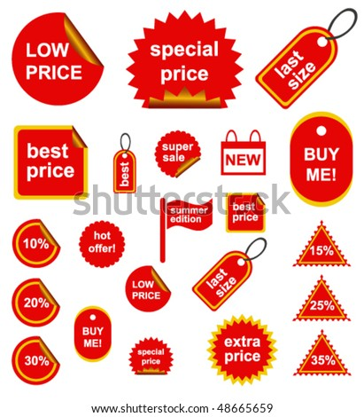 Red Shopping Signs - stock vector