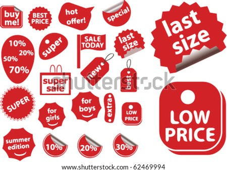red shopping stickers. vector