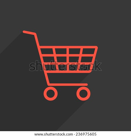 red shopping trolley with long shadow. concept of daily purchases, christmas sale and on-line ecommerce. isolated on black background. trendy modern logo design vector illustration - stock vector