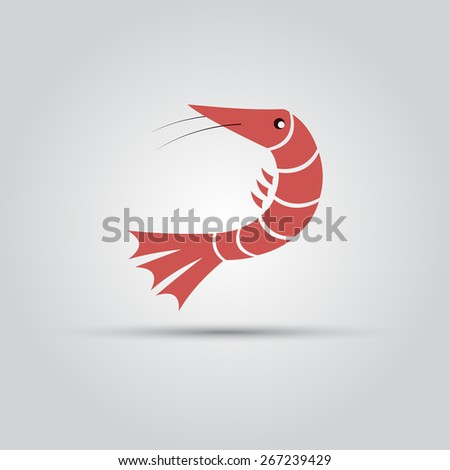 red shrimp isolated vector flat objects - stock vector